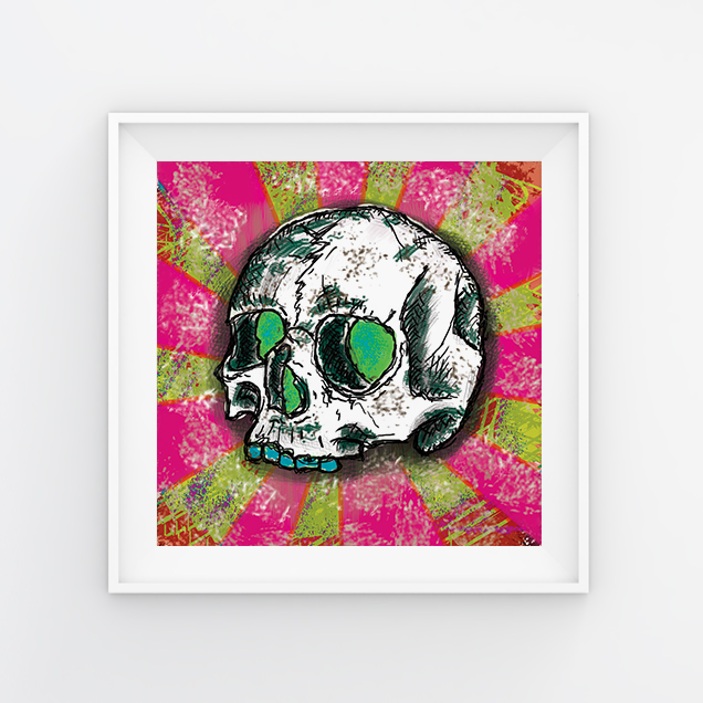 qda design referenz: freehand photoshop skull pink