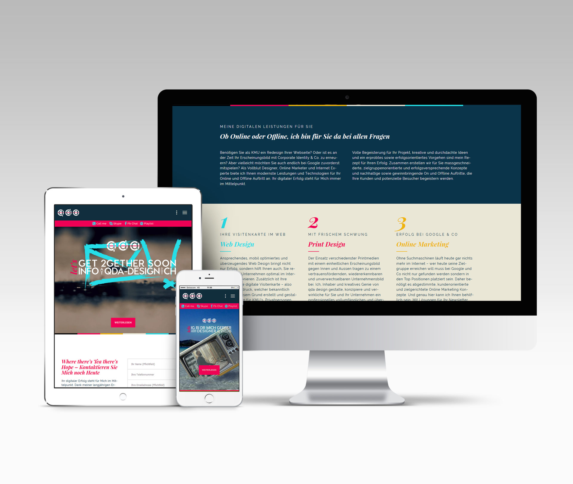 qda design portfolio: referenz: webseite von qda design (responsive wordpress)
